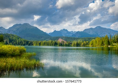 Mountain lake in National Park High Tatra. Strbske pleso, Slovakia, Europe