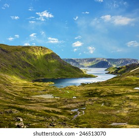 Mountain lake, North Cape, Honningsvag, Norway beyond the Arctic Circle.