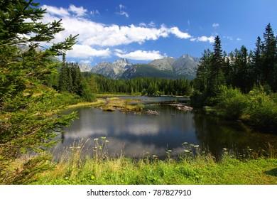 Mountain lake Nove Strbske pleso in National Park High Tatras, Slovakia