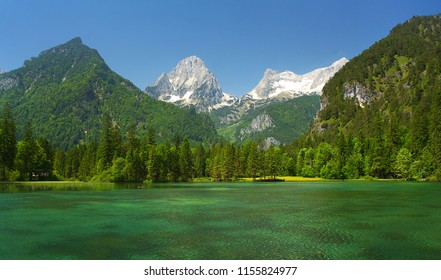 A mountain lake with peaks on background, Totes Gebirge, Austria