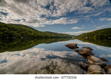 mountain lake with reflection in New England