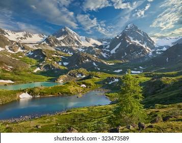 Mountain lake, Russia, Siberia, Altai mountains, Katun ridge.