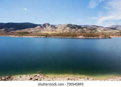 A mountain and lake scene in Fort Collins
