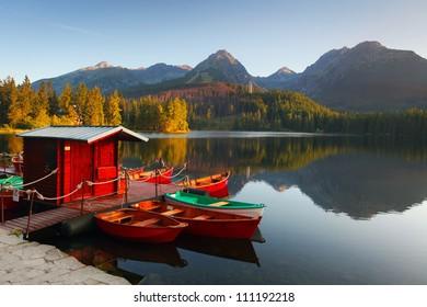 Mountain Lake in Slovakia Tatra - Strbske Pleso with dramatic clouds