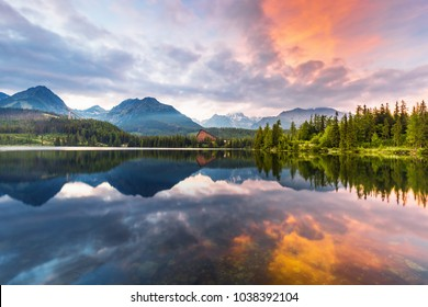Mountain lake Strbske pleso (Strbske lake) in High Tatras national park, Slovakia