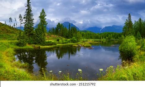 Mountain lake Strbske Pleso in High Tatras, Slovakia