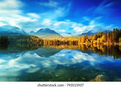 Mountain lake Strbske pleso (Strbske lake) and High Tatras national park, Slovakia