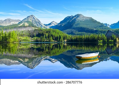 Mountain lake Strbske pleso in National Park High Tatra, Slovakia, Europe