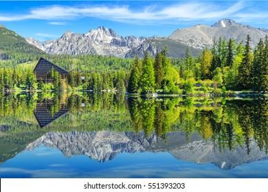 Mountain lake Strbske pleso in National Park High Tatra, Slovakia, Europe