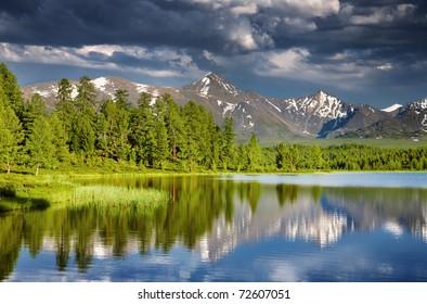 Mountain lake at sunset, Altai mountains