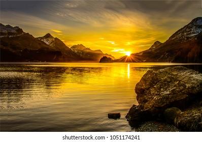 Mountain lake sunset landscape