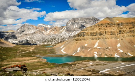Mountain and Lake View from Dolomite Pass, Banff National Park, Alberta, Canada