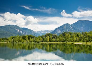 Mountain lake view. Ferlacher Badesee.