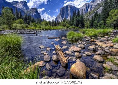 Mountain lake water landscape. Lake in mountains. Mountain lake water stones view