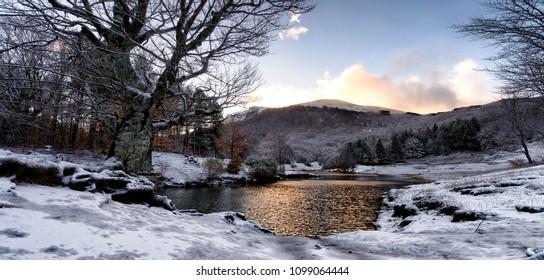 mountain lake winter period