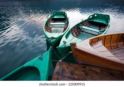mountain lakes and boats