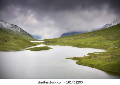 Mountain lakes with dark clouds - The Alps, Montafon, Austria