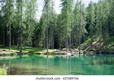 Mountain lakes in spring