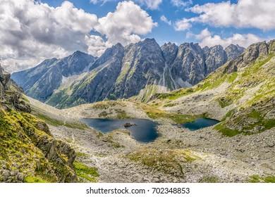 Mountain lakes under the Rysy mountain in High Tatras ( Vysoke Tatry) Slovakia.