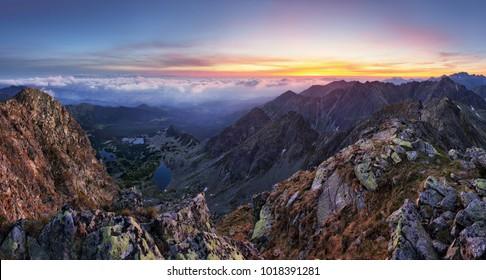 Mountain landcape panorama at summer in Poland Tatras near Zakopane from peak Swinica