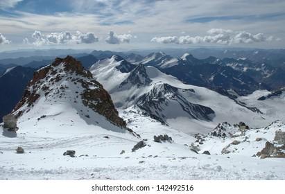 Mountain Landscape at Aconcagua summit