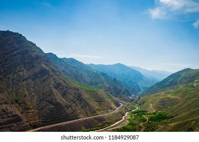 Mountain landscape of Alamut mountain range in Alamut region in the South Caspian province of Daylam near the Rudbar region in Iran.