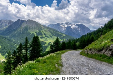 Mountain landscape along the road to Colle dell'Assietta and Colle delle Finestre, Turin, Piedmont, italy, at summer