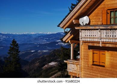 Mountain landscape with alpina house in foreground.Koralpe,Carinthia,Austria.