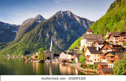 Mountain landscape in Austria Alp with lake, Hallstatt