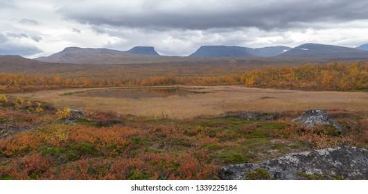 Mountain landscape in autumn. Abisko national park in Sweden.