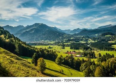 mountain landscape in autumn bavarian alps