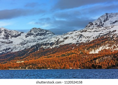 Mountain landscape in autumn with Lake Sils in the Swiss Alps.Engadine valley, Grisons, Switzerland.
