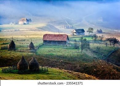 mountain landscape in  autumn morning  - Fundatura Ponorului, Romania