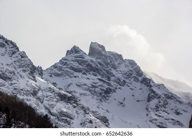 Mountain landscape, beautiful view of high rocks in the picturesque gorge, a panorama on the mountain district. Wild nature of the North Caucasus