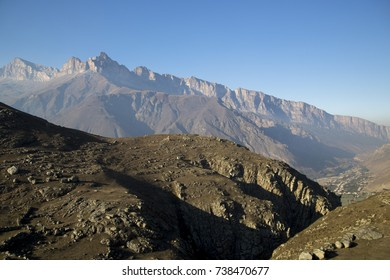 Mountain landscape. A beautiful view of high rocks in the picturesque gorge, a sunny day. Wild nature and mountains of the North Caucasus