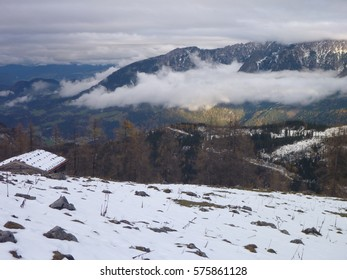 mountain landscape at the beginning of winter in berchtesgaden germany