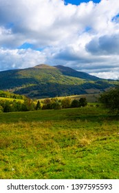 Mountain landscape with Bieszczady mountains in Poland. Beautiful countryside in Carpathian mountains.