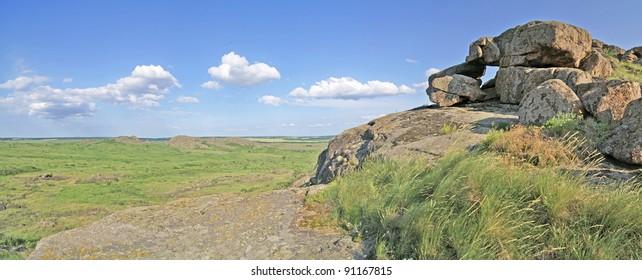 mountain landscape, boulders
