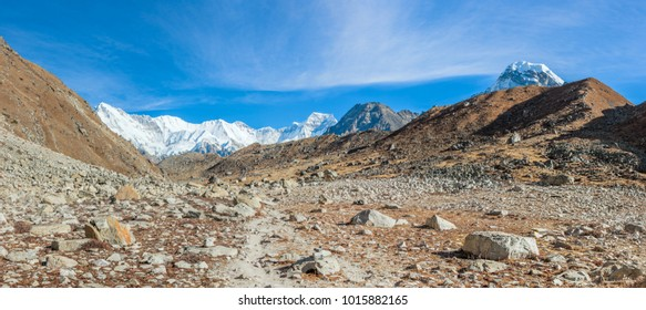 Mountain landscape with the Cho Oyu (8201 m) peak on background - Gokyo region, Nepal, Himalayas