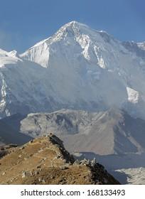 Mountain landscape with the Cho Oyu (8201 m) peak on background - Gokyo region, Nepal, Himalayas