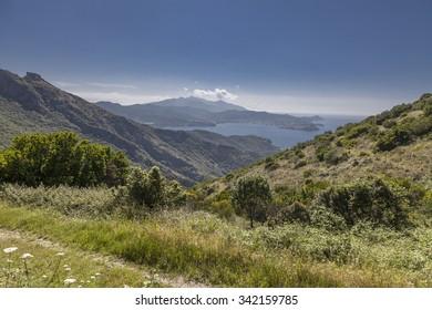 Mountain landscape Cima del Monte near Rio nell Elba, Elba, Tuscany, Italy