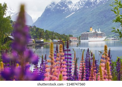 mountain landscape with cruise ship and pink lupine, norway