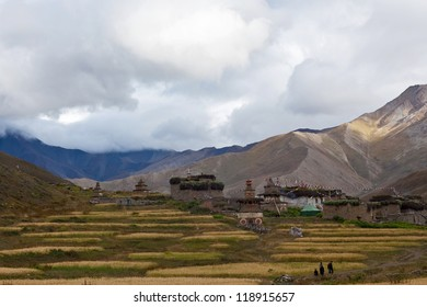 Mountain landscape and Dho Tarap Village in Dolpo, Nepal
