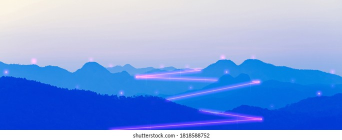 Mountain landscape with digital line network. Internet connecting world together. Cyber punk color and futuristic concept. Banner size background with copy space.