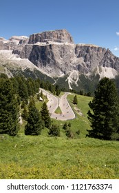 Mountain Landscape Dolomites Alps Italy Pordoi Sella Pass Sellaronda Sella Ronda Bike Day