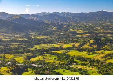 Mountain landscape of Dominican Republic, Montana Redonda, Hispaniola, Caribbean island group