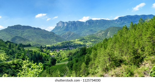 a mountain landscape in the Drome in France