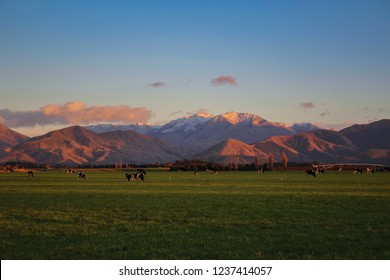 mountain landscape during sunrise near Methven in Canterbury, South Island, New Zealand