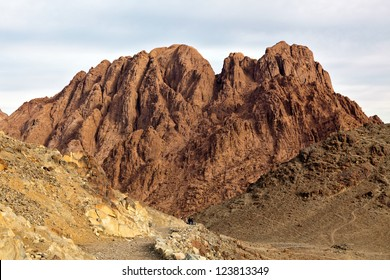 Mountain landscape. Egypt, Sinai, Mount Moses. Road on which pilgrims climb the mountain of Moses.