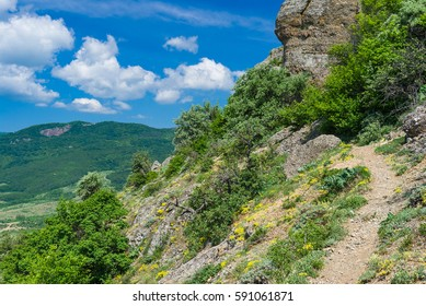 Mountain landscape with foot-path in Valley of Ghosts near Alushta resort, Crimean peninsula